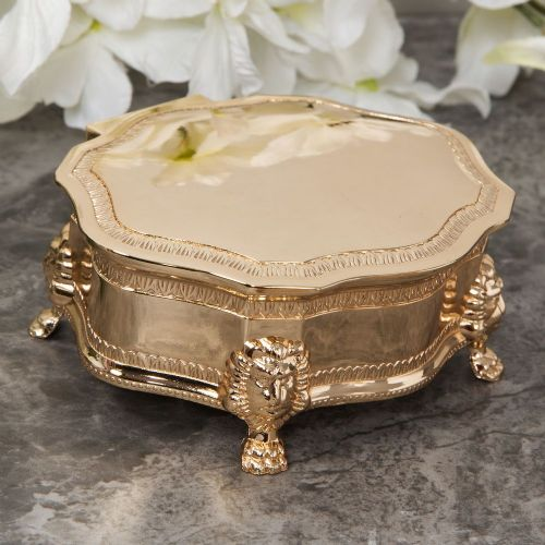 Vintage Style Oval Gold Plated Trinket Box With Lion Feet